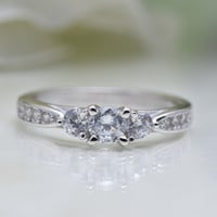 Cubic Zirconia Fashion Promise .925 Sterling Silver Ring [Silver, 24KYGP, 18KRGP]