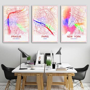 Travel City Map Abstract Poster for Modern Retro Wall Decor
