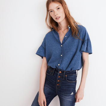 Central Ruffle-Sleeve Shirt in Indigo : shopmadewell more denim dressing | Madewell