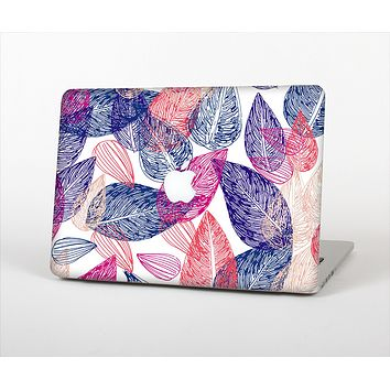 The Seamless Pink & Blue Color Leaves Skin Set for the Apple MacBook Pro 15""