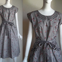 Vintage 50s SWIRL Atomic Ring Picnic Gingham Check Wrap Dress L