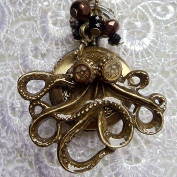 Octopus pocket watch pendant,  treasure from the sea with bronze charms and glass beads on antique bronze chain