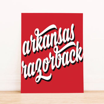 Arkansas Razorbacks Art PrintableTypography Poster Dorm Decor Home Decor Office Decor Poster