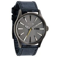 Men's Nixon The Sentry Leather Gunmetal Navy Watch