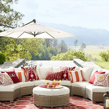 Sigma all weather wicker furniture round sectional sets lounge sofa