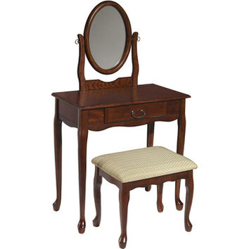 Powell Miscellaneous Accents Woodland Cherry Vanity - Mirror & Bench in Cherry