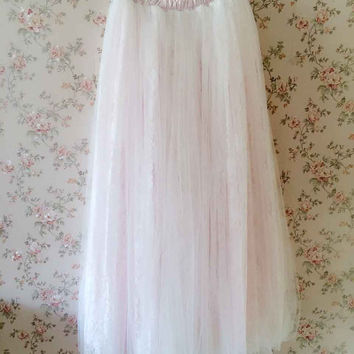 Women Lace Tutu Skirt. Pink White Long Lace Maxi Skirt. Retro Lace Skirt. Floor Length Wedding Skirt. Plus size Bridal Tutu Skirt(T2813)