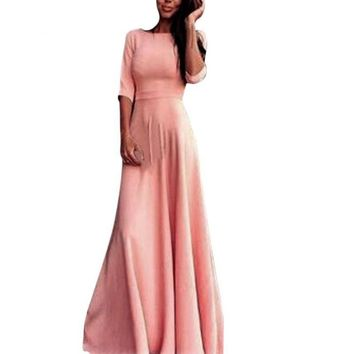 Hot Sale Fashion Pink Women High Waist Long Party Ball Prom Gown Formal Bridesmaid Maxi Vestido Dress Elegant Half Sleeve