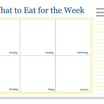 Desk Weekly Meal Plan  Pad, Yellow/Blue, Paper Calendars