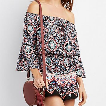 Printed Bell Sleeve Off-The-Shoulder Romper