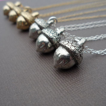 golden or silver acorn necklace gift for her