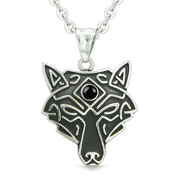 Celtic Wolf All Seeing Third Wisdom Eye Protection Amulet Simulated Black Onyx Pendant 22 inch Necklace