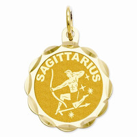 14k Yellow Gold Engraveable Sagittarius Pendant