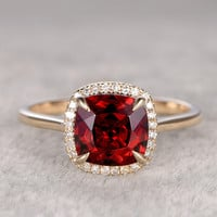 8mm Cushion Garnet Engagement Ring Diamond Wedding Ring 14k Rose Gold Halo Antique