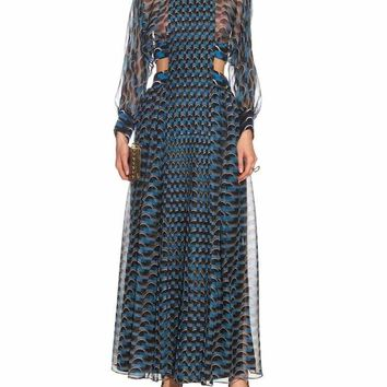 Blue Multi Cutout Sides Maxi Dress
