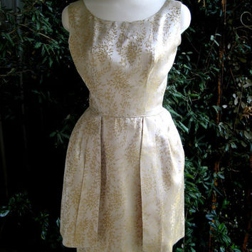 Fifties peplum cocktail dress gold brocade by posypower on Etsy