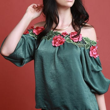 Floral Applique Satin Statement Sleeve Top | UrbanOG