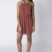 Rust Chiffon Tank Dress