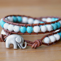 Beaded leather wrap bracelet, double, Good Luck, silver elephant, Howlite, good luck jewelry, white, gift idea, Boho chic, gemstone, hipster