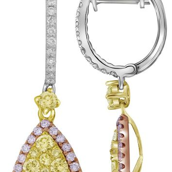 14kt White Gold Womens Round Yellow Pink Diamond Triangle Dangle Earrings 1-1/20 Cttw