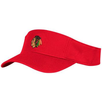 Men's Chicago Blackhawks adidas Red Basic Adjustable Visor