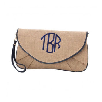 Monogram Clutch Purse, Embroidered Wristlet Clutch, Monogrammed Gift, Personalized Gift Idea