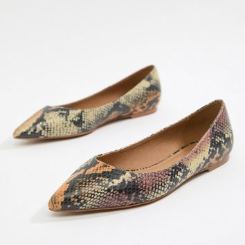 ASOS DESIGN Latch pointed ballet flats at asos.com