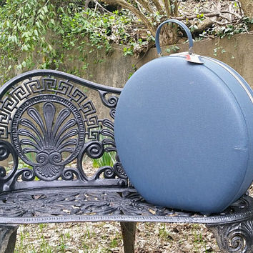 Vintage Blue American Tourister Tri Taper Large Round Hat Box Suitcase with Divider