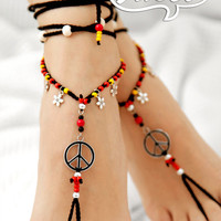 Barefoot Sandal. Black Gypsy Shoes. Hippie Barefoot sandals