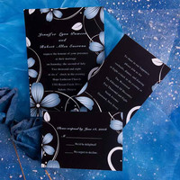 Unique printable daisy black and blue wedding invitations – affordable modern invitation card – free matching response cars EWI062