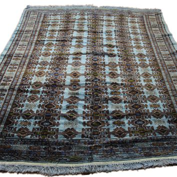 7x9 Turkoman Bokhara Teal Overdyed Vintage Handknotted Rug 2777