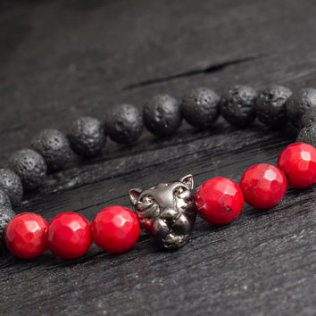 Black lava stone beaded gun black Leopard stretchy bracelet with faceted red coral beads custom made yoga bracelet