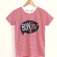 Red and White HAND STENCILED Striped Word Bubble Rolled Cuffs Hello Bonjour Tee - S M L XL 2XL
