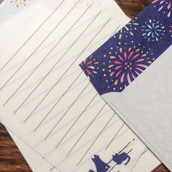 Japanese Letter Set - Cats and Fireworks - Fancy Stationery