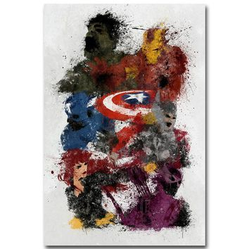 Avengers 2 Age of Ultron Art Silk Poster Minimalism Print Superheroes Movie Picture for Room Wall Decor Iron Man Hulk Thor 023
