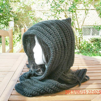 Hooded Scarf, Black Scarf, Hooded Cowl, Scarf with Hood, Hoodie Scarf, Crochet Hooded Scarf, Scarf