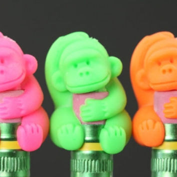 Gorilla Pencil Topper Eraser Set