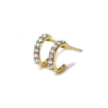 14kt Gold Diamond Mini Hoops