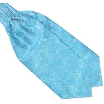 Men's Sky Blue Paisley Gentleman Collection Ascot/Cravat Tie