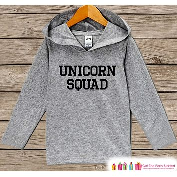 Funny Kids Unicorn Shirt - Unicorn Squad Hoodie - Boys or Girls Unicorn Shirt - Grey Pullover - Gift Idea for Baby, Infant, Kids, Toddler