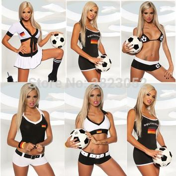 2018  World Football game  Germany Sexy Beer Girl Costume Soccer Jersey Women Party Bavarian German Cosplay Fraulein