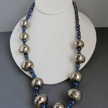 Silver Ball Necklace, Vintage Blue & Silver Bead Chunky Necklace, Boho Jewelry Gift idea, FREE SHIPPING