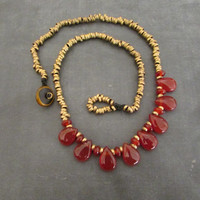 Carnelian and Brass Beaded Necklace, Bohemian Beadwork Jewelry, Women Necklace