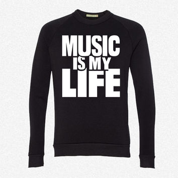 Music is my life 7 fleece crewneck sweatshirt