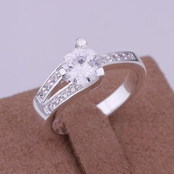 Free Shipping 925 jewelry silver plated  Jewelry Ring Fine Fashion Silver Zircon Women&Men Finger Ring Top Quality SMTR164