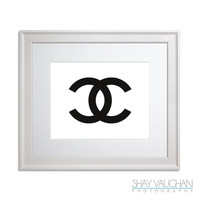 Chanel - Coco Chanel Logo Art Print, Fashion Print, Bedroom Decor, Girl's Room, Wall Art, Bathroom Decor, Gift