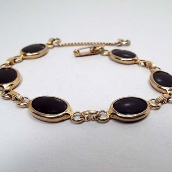 Vintage Onyx Link Bracelet, Gold Tone with Snap Lock Clasp and Safety Chain, Mid Century 1960s 60s, Black Oval, Gift for Her