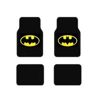BDK WBMT-1301 Black Batman Carpet Floor Mat - 4 Piece