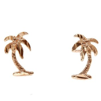 SOLID 14K ROSE GOLD SMALL HAWAIIAN DIAMOND CUT PALM TREE STUD POST EARRINGS