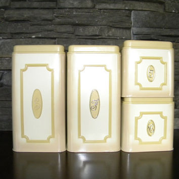 Canisters, Retro Ekco Canada Limited Beige Metal Kitchen Canisters, Set of 4!